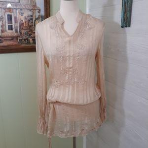 Spiegel sheer silk lace embellished blouse sz 6 *J
